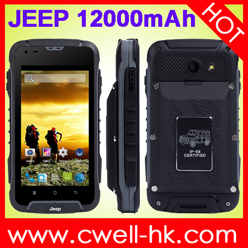 Jeep 605 Dual core 12000mah long life battery mobile phone 4.5 inch IP68 waterproof Anti-shock Anti-dust andorid smartphone GPS