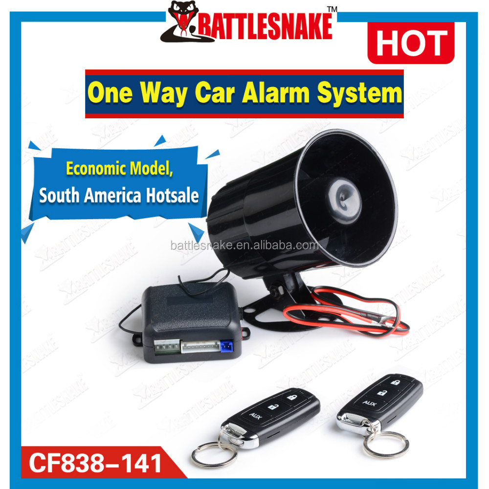 one way car alarm CF838 with Mini main unit, small remote controller and shock sensor