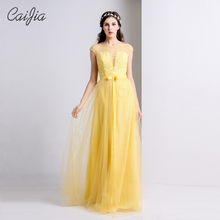 CAIJIA2017 Light Yellow Elegant Embriodey Cap Sleeve Evening Dress Prom Dress Transparent Prom Dress With Bowknot Belt