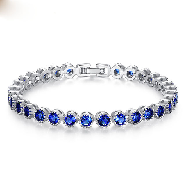 High Quality Gifts Jewelry Silver Color Created Stone with Blue AAA Round Zircon Chain Link Bracelet for Women