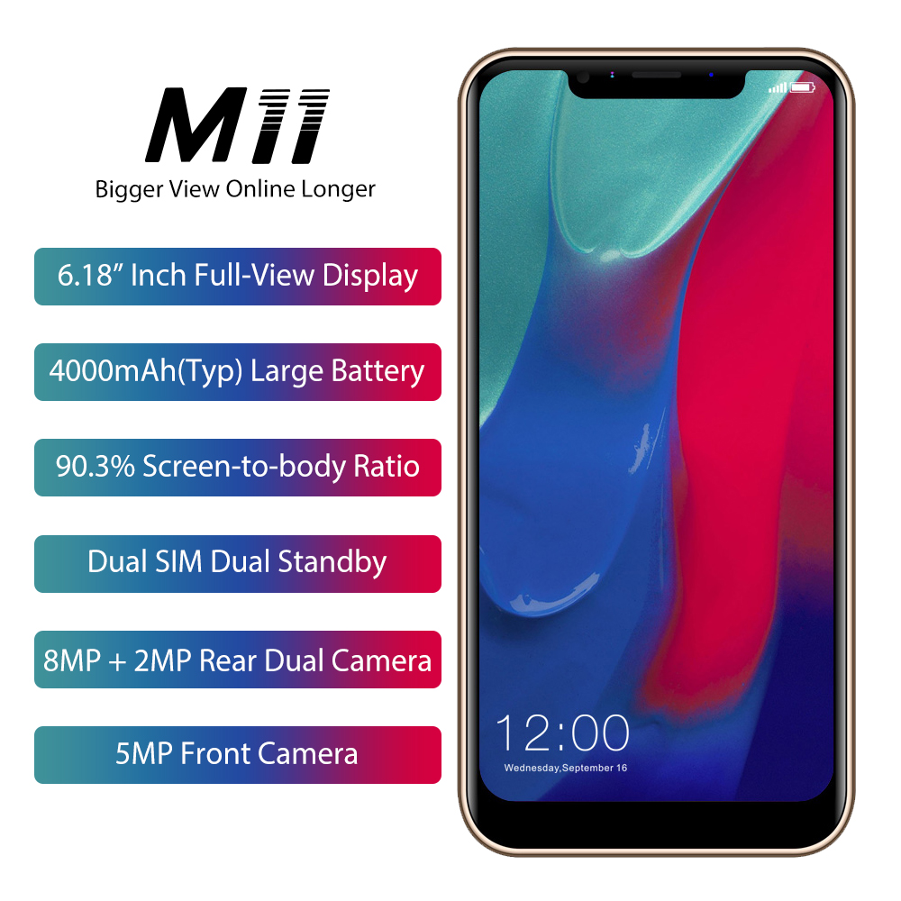 "LEAGOO M11 Smartphone 6.18"" 4000mAh 2GB RAM 16GB ROM Android 8.1 MT6739 Quad Core Rear Fingerprint Rapid Charge 4G Mobile <strong>Phone</strong>"