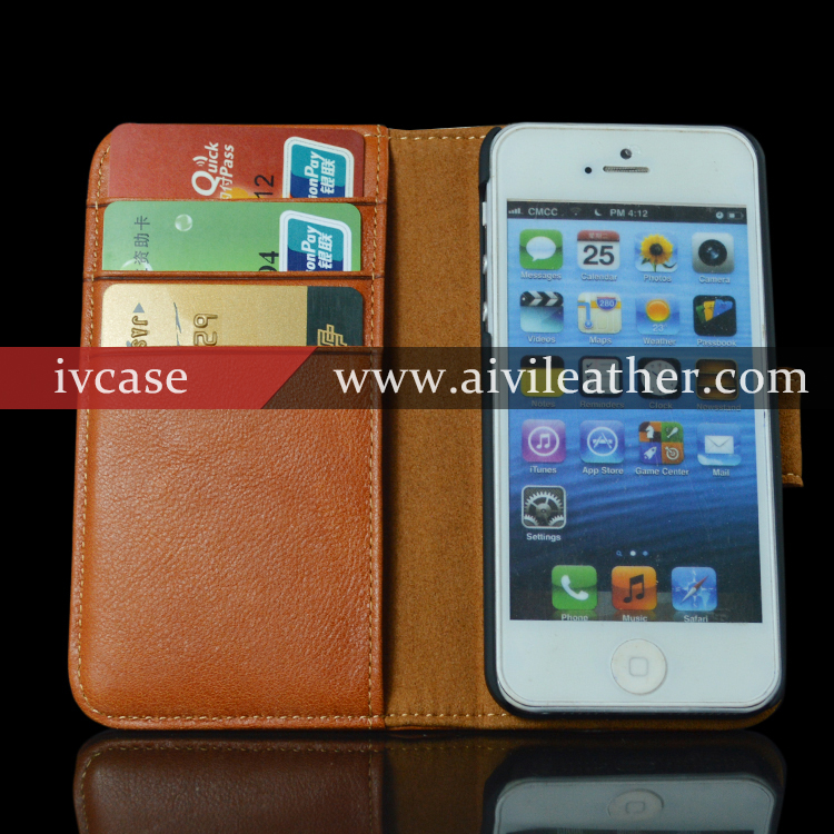 Ultra thin case for iphone 5 genuine cowhide leather, leather flip case with magnetic closure for iphone 5