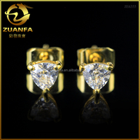best gift for women girl 925 sterling silver with 18k gold plated 3a trillion cut cz stud earrings
