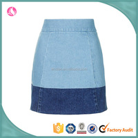 Two tone color cheap women denim A line skirts pencil skirts