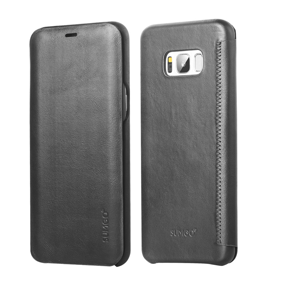 Flip cover natural leather case for Samsung Galaxy S8 smart phone