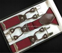 New Fashion Men's braces 6 clips suspenders male vintage casual suspenders spaghetti strap Genuine leather
