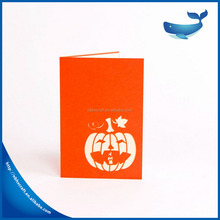 Halloween greeting card Children hand card Angry pumpkin pattern card