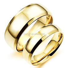 China Factory 316 L Stainless Steel Jewelry High Polishing 24 K Gold Plated Personalized Gift Two Finger Wedding Rings