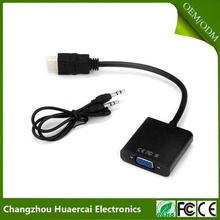 High Definition HD MI Male to VGA Female Video Adapter Line with Audio Line