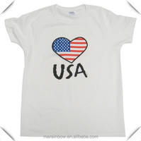 Good Quality Special American Flag Printed T Shirt OEM , Mens White Cotton Printing USA T Shirts Wholesale Manufacturer in China