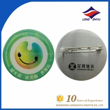 Wholesale high quality custom metal smile logo printing badges