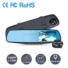 "Promotion 4.3"" Screen Loop recording 1280*720P Blue Glass Angle windscreen car camera dvr video recorder"