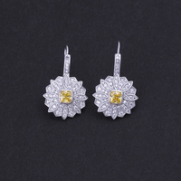 Elegant High Quality Citrine Yellow Stone and White CZ Crystal Small Daisy Flower Fish Hook Zircon Earrings for Girls