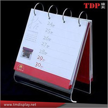 factory wholesale desktop acrylic calendar stand with metal ring