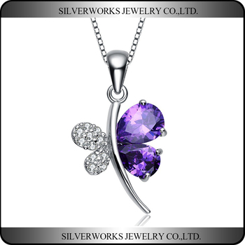 Wholesale Fashion Jewelry Waxpave Setting Butterfly Silver 925 Pendant Necklace