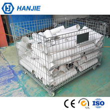 Metal Foldable Rolling Security Cage, Storage Containers With Wheels