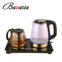 Hot sale double stove tea tray set SS kettle with glass teapot and warmer set