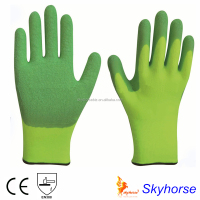 Polyester Double Shell Latex Coated Crinkle Finish Safety Work Glove, western safety gloves motorcycle