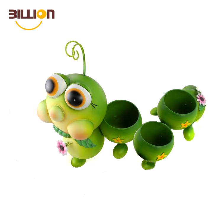 Animal Shaped Mini Flower Planter Caterpillar Metal Garden Pots