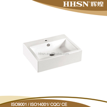HH118B Popular Bathroom White Square Top Mount Ceramic Wash Basin Sinks