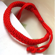 Simple style handmade red rope string women adjustable Chinese knot bracelet