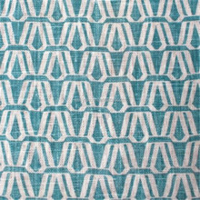 Curtain Fabric - 'Alba' Turquoise Blue- Linen fabric - Geometric Fabric- P/Metre