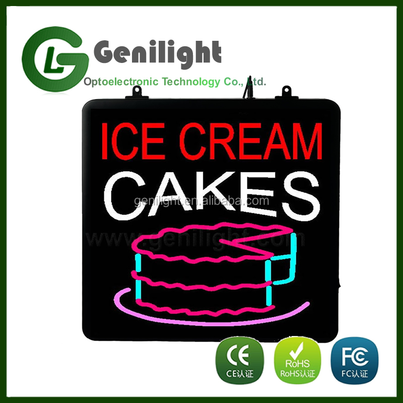 led neon ice cream cakes sign adverticing