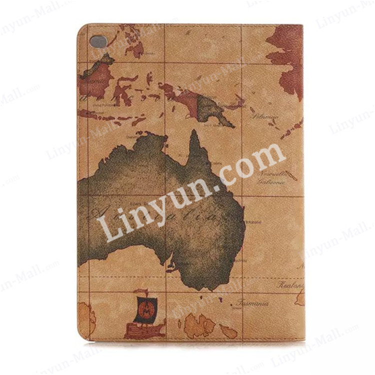 China supplier World map pattern leather wallet case for iPad air2 , for ipad air 2 covers