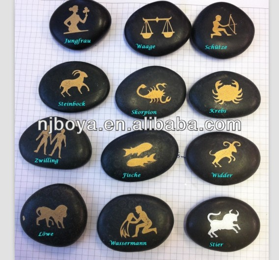 engraved pebble stone, small stone animal carving,tweleve star signs