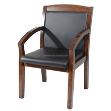 Black Leather Boardroom Chair in Wooden Frame for Guest and Meeting