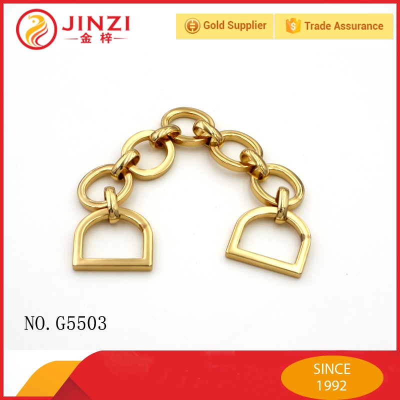 Gold color functional custom handbag hardware chains