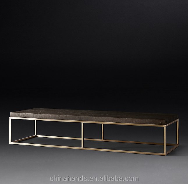 MA-ZM07 Living Room Wooden Top Stainless Steel Base Coffee Table