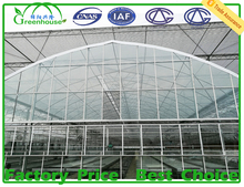 MYXL High quality low cost used hot galvanized steel pipe frame glass green house for commercial agriculture