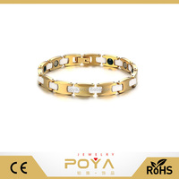 POYA Jewelry Fashion Personalized 14k Gold Plating Tungsten Carbide White Ceramic Bracelet For Girls