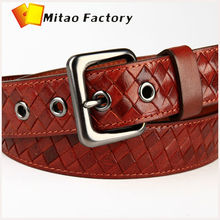 Italy Top Quality Brand BV Weave Leather Belt For men Orange Trousers Belt Men