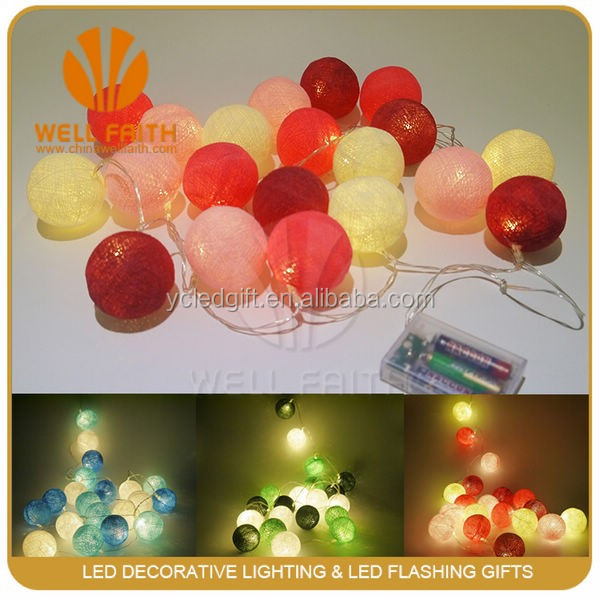 Pink/Blue/Red/Brown christmas thailand cotton ball string light