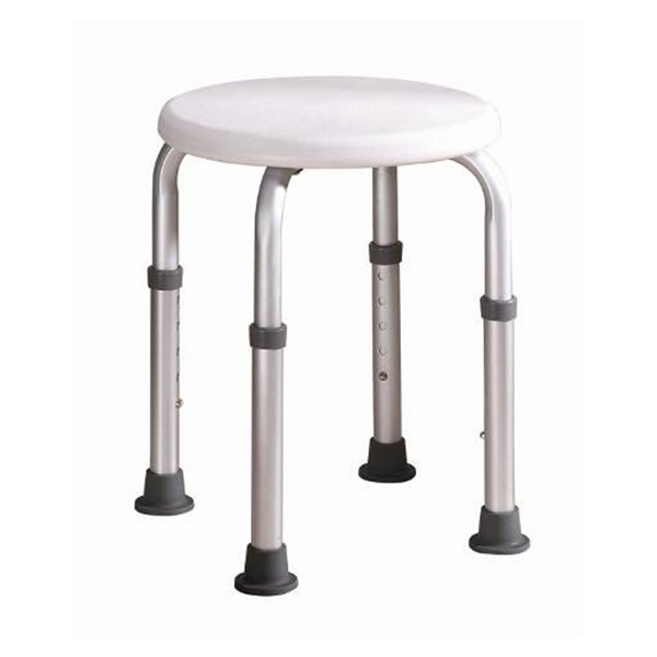 Aluminum Alloy Round Shape Shower Stool With PE Stool