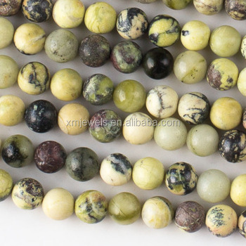 Wholesale natural yellow turquoise howlite round beads