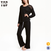 Guangzhou clothing line soft viscose jersey black women pajamas sleepwear