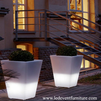 Rechargeable remote control battery operated led illuminate light up flower pot