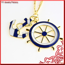 2014 Ocean Elements Nautical Enamel Anchor and Wheel Necklace