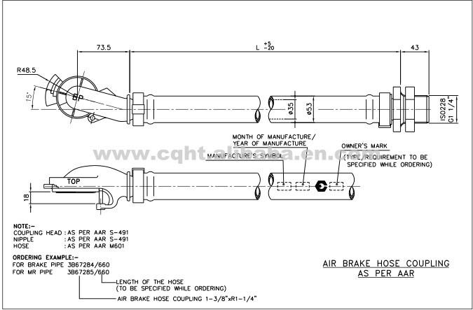 Railway wagons air brake hose coupling with aar s