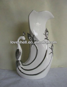 Home Decor Silver plated finish Modern Ceramic Vase