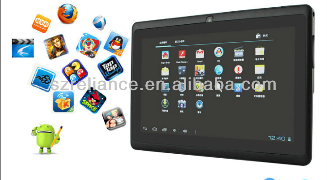 "China cheap 7"" diamond android 4..2.2 tablet pc with free 3g games wifi bluebooth"