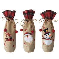 Jute storage gift bag Santa Claus Wine Bottle Cover For Christmas