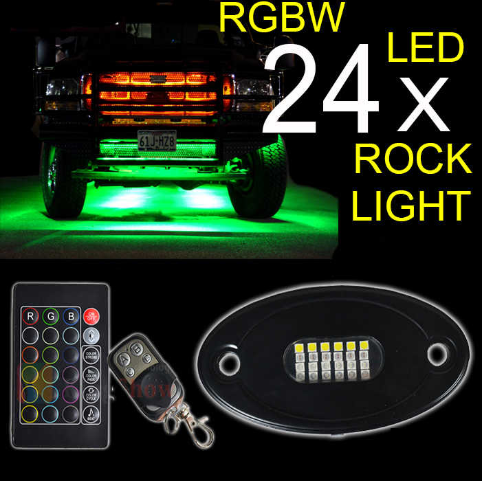 New Top-level 4x24W RGBW mini LED rock light kits, Led Tail Dome Light, RGB led rock light with two remote Music controller
