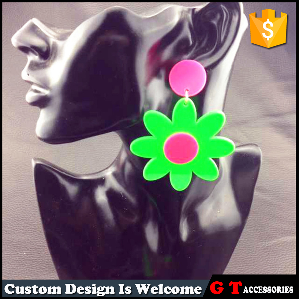 Charm Bright Colored Sun Flower Shaped Acrylic Earring Vivid Jewelry For Party Girl