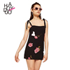 HAODUOYI Summer Women Mini Dress Floral Printed Female Chiffon Dress Ladies Chic Vestidos De Festa