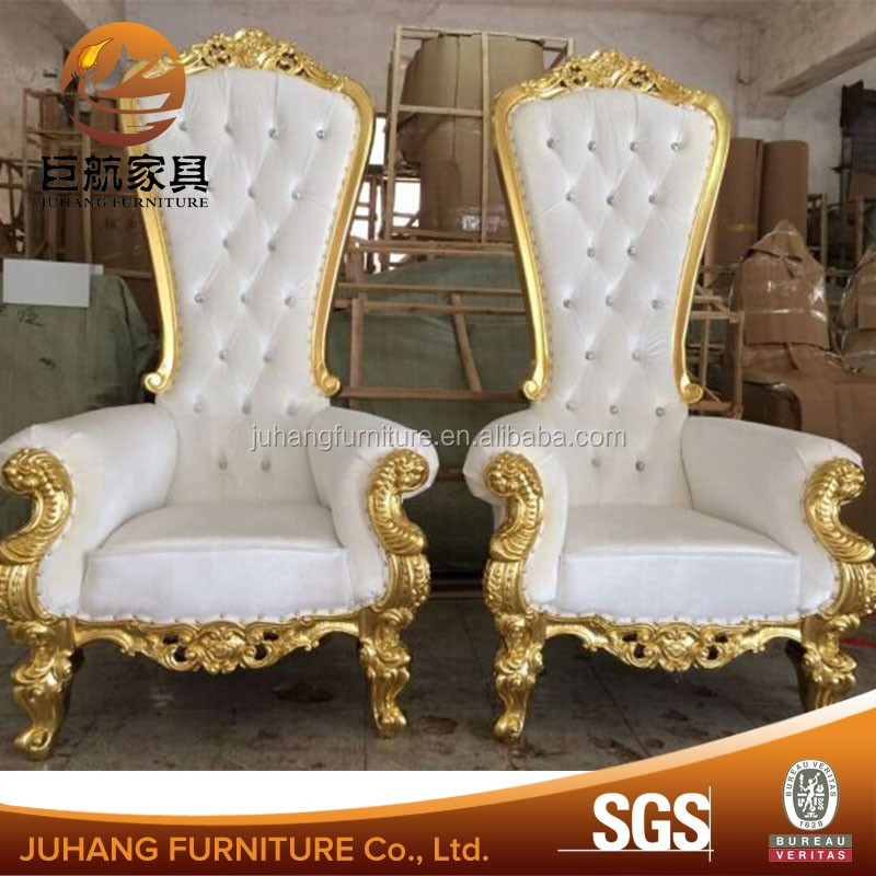 White PU leather high back wood frame wedding king <strong>chairs</strong>