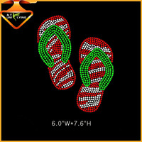 Custom-made wholesale rhinestone flip flops hotfix motif
